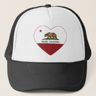 california flag malibu heart trucker hat