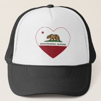 california flag manhattan beach heart trucker hat