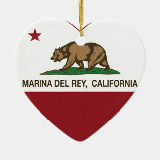 california flag marina del ray heart ceramic ornament
