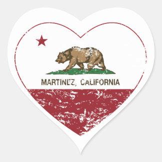 california flag martinez heart distressed heart sticker