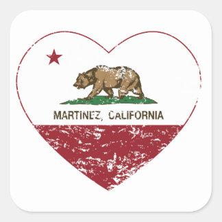california flag martinez heart distressed square sticker