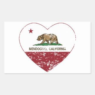 california flag mendocino heart distressed sticker