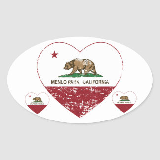 california flag menlo park heart distressed oval sticker