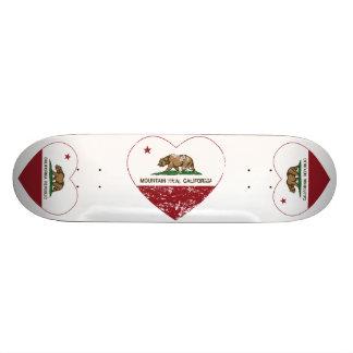 california flag mountain view heart distressed custom skateboard