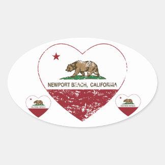 california flag newport beach heart distressed oval sticker