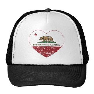 california flag north highlands heart distressed trucker hat