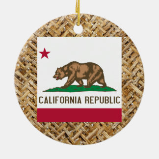 California Flag on Textile themed Ceramic Ornament