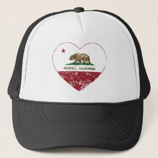 california flag pacifica heart distressed trucker hat