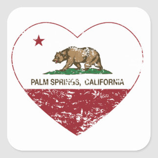 california flag palm springs heart distressed square sticker