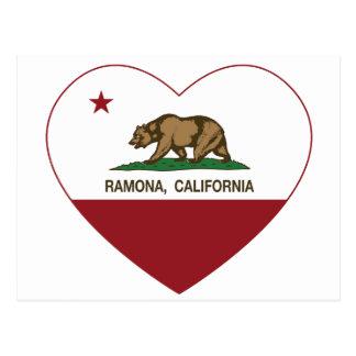 california flag ramona heart postcard