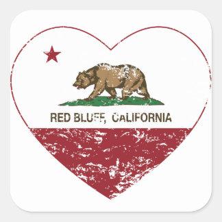 california flag red bluff heart distressed square sticker