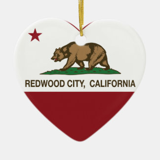 california flag redwood city heart ceramic ornament
