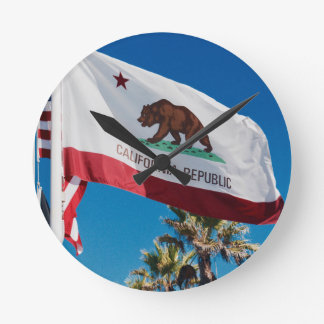 California Flag Round Clock