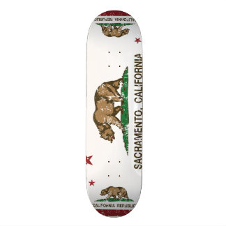 california flag sacramento distressed skate board deck