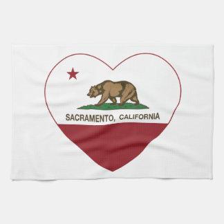 california flag sacramento heart kitchen towel