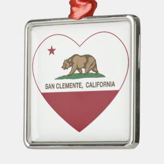 california flag san clemente heart Silver-Colored square ornament