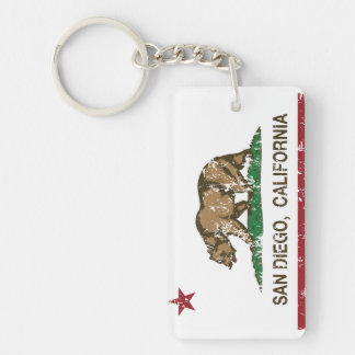 california flag san diego distressed Double-Sided rectangular acrylic keychain