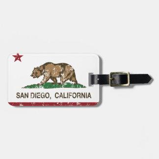california flag san diego distressed luggage tag