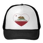 california flag san francisco heart trucker hat
