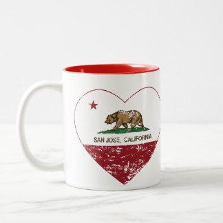 california flag san jose heart distressed Two-Tone coffee mug