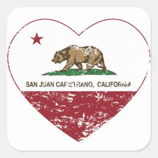 california flag san juan capistrano heart dist square sticker