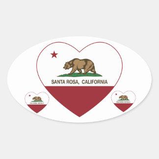 california flag santa rosa heart oval sticker