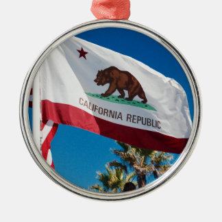 California Flag Silver-Colored Round Ornament