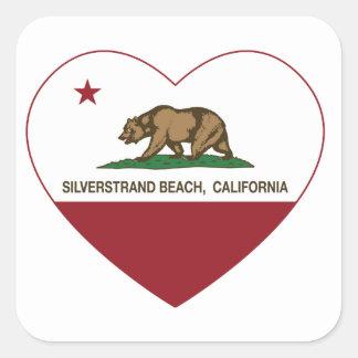 california flag silverstrand beach heart square sticker
