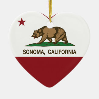 california flag sonoma heart ceramic ornament