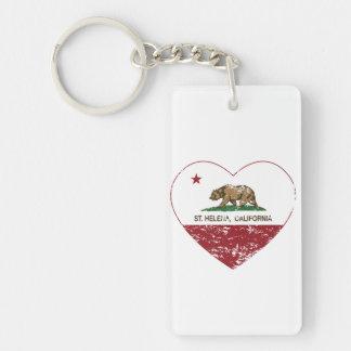 california flag st Helena heart distressed Double-Sided Rectangular Acrylic Keychain