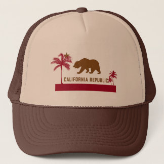 California Flag T-Shirt - Palm Trees & Beach Trucker Hat