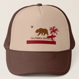 California Flag T-Shirt - Surfer on Beach Trucker Hat