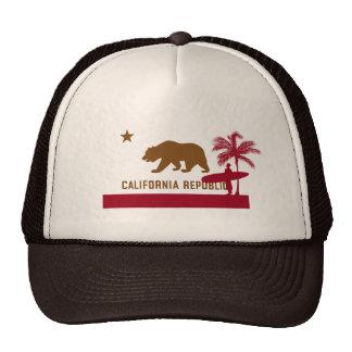 California Flag T-Shirt - Surfer on Beach Trucker Hat