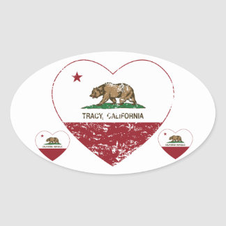 california flag tracy heart distressed oval sticker