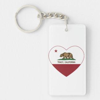 california flag tracy heart Double-Sided rectangular acrylic keychain