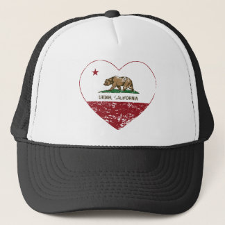 california flag ukiah heart distressed trucker hat