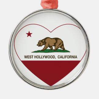 california flag west hollywood heart metal ornament