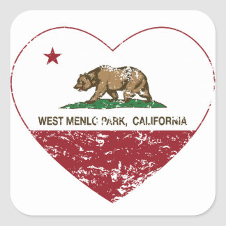 california flag west menlo park heart distressed square sticker