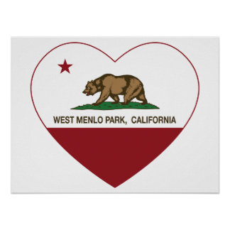 california flag west menlo park heart poster