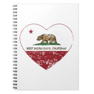california flag west sacramento heart distressed notebooks