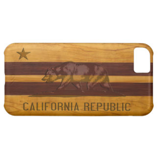 California Flag Wood Surf Style Case For iPhone 5C