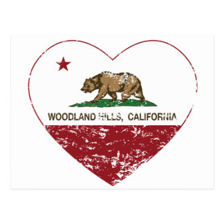 california flag woodland hills heart distressed postcard