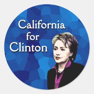 California for Clinton Round Sticker