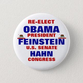 California for Obama Feinstein Hahn 2 Inch Round Button