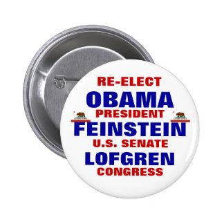 California for Obama Feinstein Lofgren 2 Inch Round Button