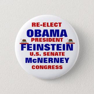 California for Obama Feinstein McNerney 2 Inch Round Button