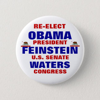 California for Obama Feinstein Waters 2 Inch Round Button