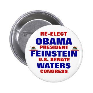 California for Obama Feinstein Waters 2 Inch Round Button