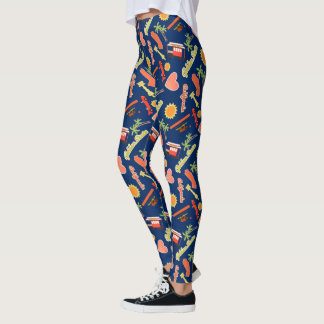 California Fun Pattern on Navy Blue Leggings