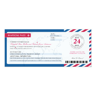 California & Germany Airmail Boarding Pass Wedding Card